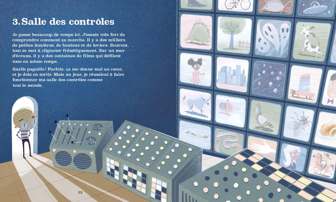 Vincent entre dans la salle des contrôle. Une pièce dans sa tête où il tente de tout contrôler. Il y a un mur d'écrans de télévision et une console avec des dizaines de boutons.