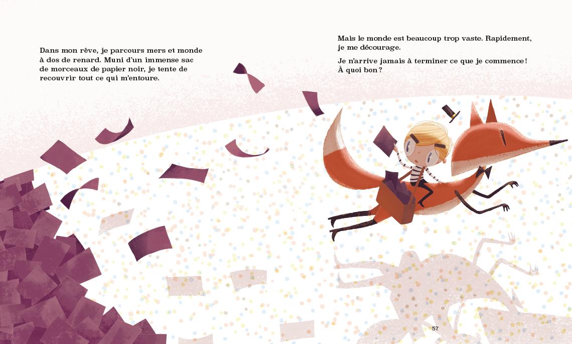 Vincent est sur la dos du renard et galope à travers les points multicolores en répandant des feuilles de papier noires partout.