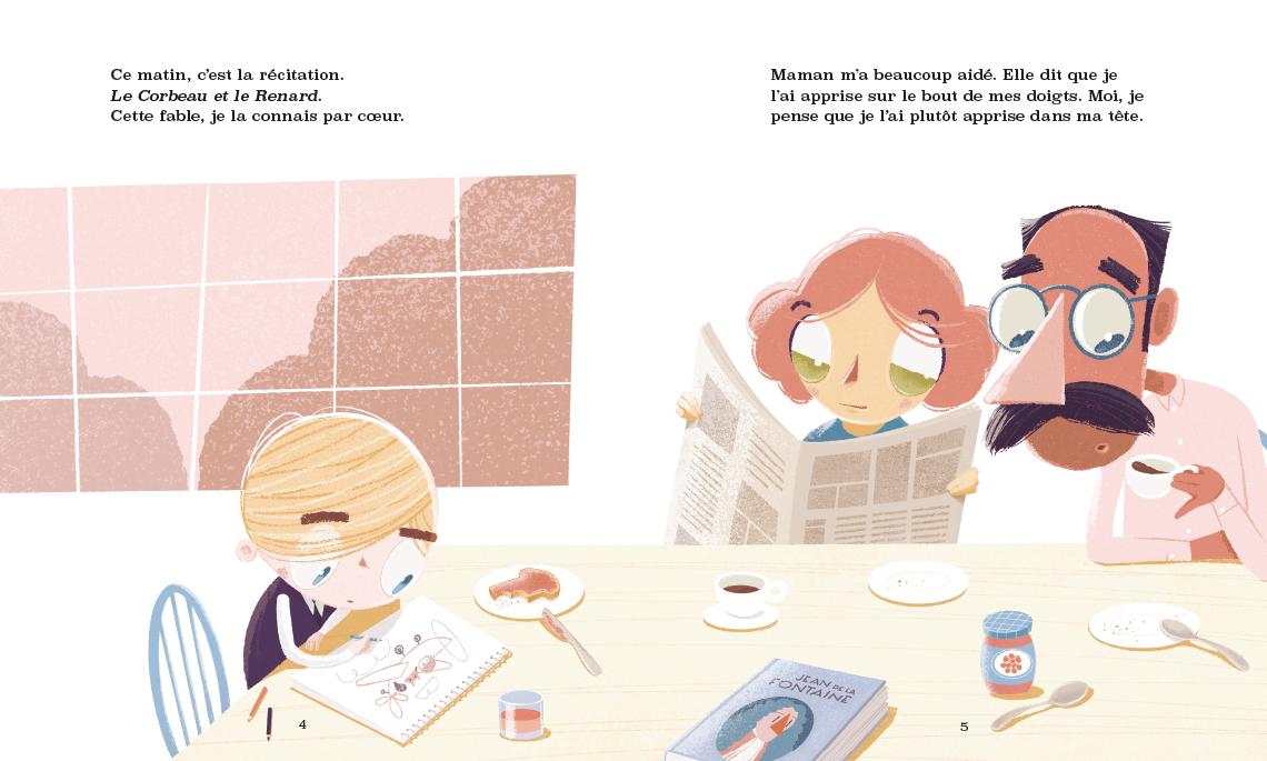 Vincent mange son déjeuner en compagnie de sa mère et de son père. Il dessine.